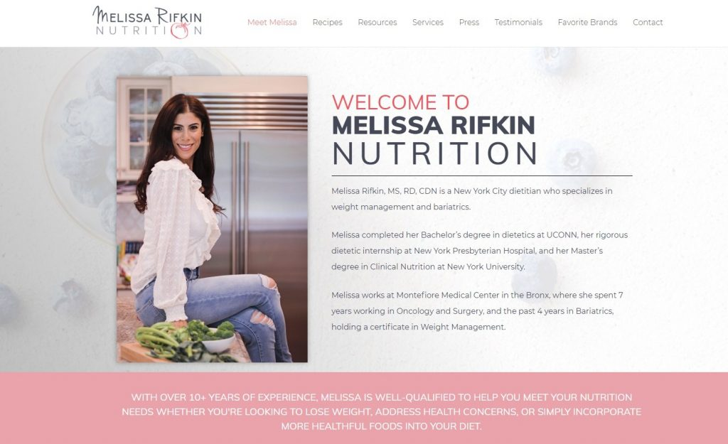 New website homepage for Melissa Rifkin